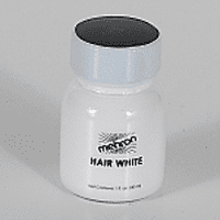 Hair White with Brush - 1oz Mehron Color for Beard Moustache or Eyebrows