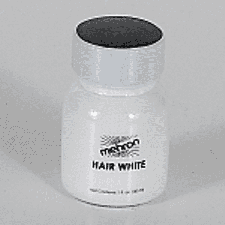 Hair White with Brush - 1oz Mehron Color for Beard Moustache or
