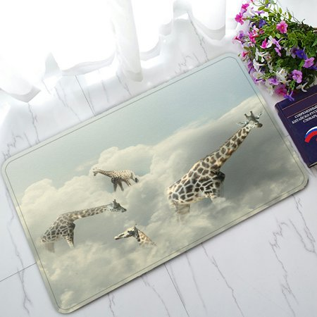 PHFZK African Animal Doormat, Funny 4 Giraffe in the Clouds Doormat Outdoors/Indoor Doormat Home Floor Mats Rugs Size 30x18 inches - Mat 4 Mats