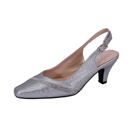 FLORAL Candice Women Extra Wide Width Pointed Toe with Crystal Strip Upper - Crystal Slingback