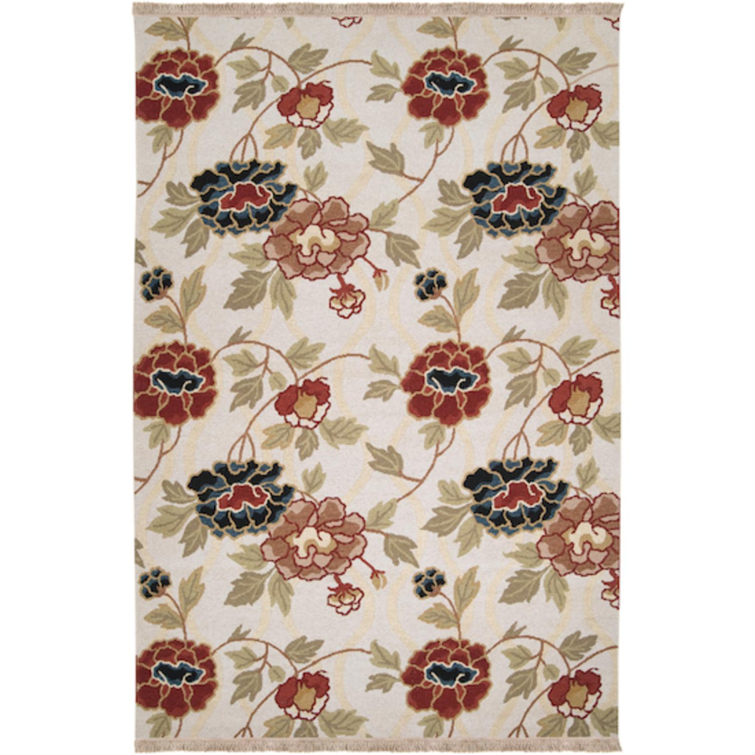 9' x 12' Heirloom Bouquet Fringed Khaki Floral Wool Area Throw Rug