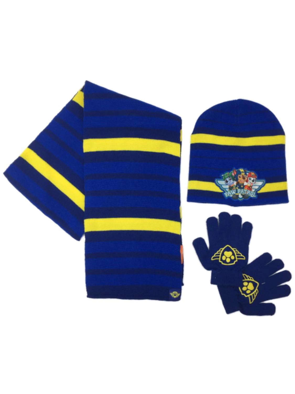 Boys Blue Stripe Knit Paw Patrol Beanie Hat Scarf & Gloves Set Marshall Dog