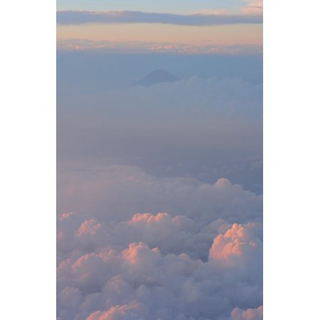 Laminated Poster Cloud Mt Fuji Blue Navy Blue Aerial Photograph Poster Print 11 x 17 - Fuji Photo Prints