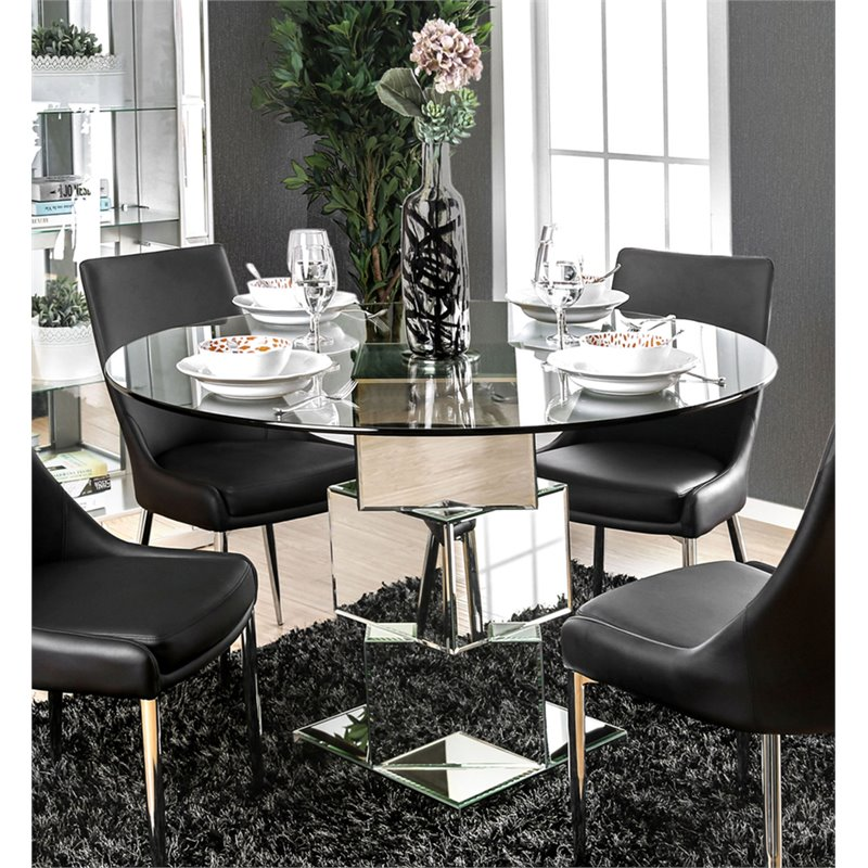 Furniture Of America Cai Glass Top Mirrored Dining Table In Chrome Walmart Com Walmart Com