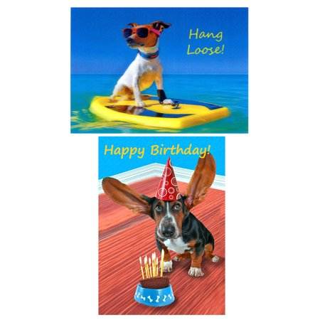 DOGS: 2 Lenticular 3D Postcard Greeting Cards - Hang Loose! & Happy Birthday Basset Hound