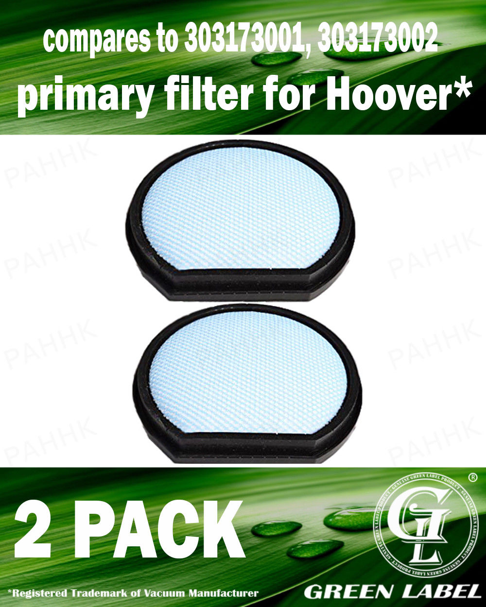 By Green Label 2 Pack Primary Filter for Hoover T-Series Vacuum Cleaners