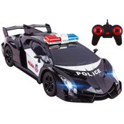 """Police RC Car Super Exotic Large 12"""" Remote Control Sports Car with Working Headlights And Sirens Easy To Operate Perfect Cop Race Vehicle For Kids (Black)"""
