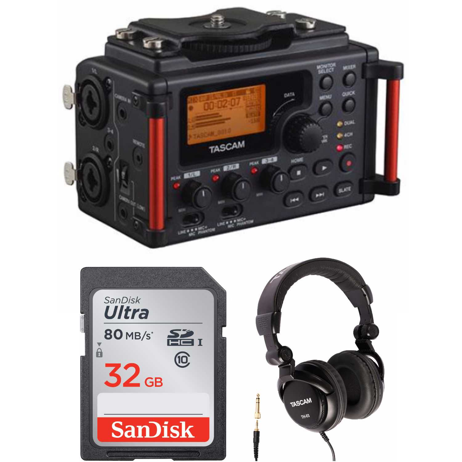 Tascam DR-60DmkII DSLR Audio Recorder with 32GB SD Card and Headphones