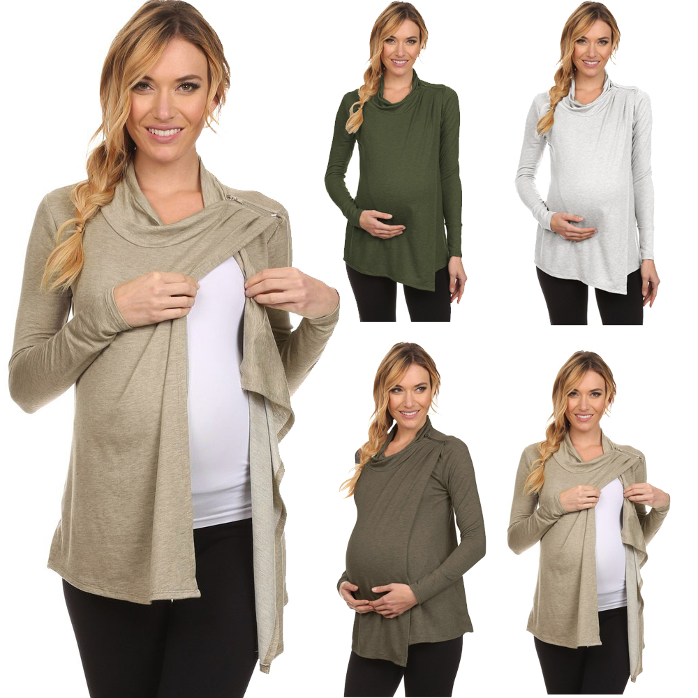 Women Solid Turtleneck Long Sleeve Maternity Breastfeeding and Nursing Tops by