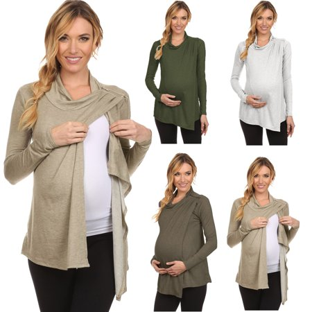 Women Solid Turtleneck Long Sleeve Maternity Breastfeeding and Nursing Tops