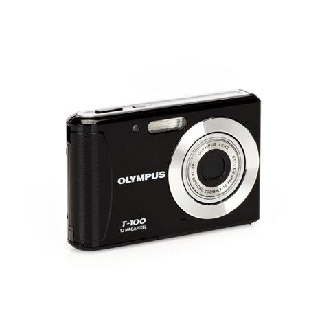 "Olympus T100 Black 12MP Digital Camera, 3x Optical Zoom, 2.4"" LCD, AF Tracking, Creative Art Filters"