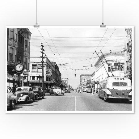 Seattle, WA View of University Way at 45th Photograph (9x12 Art Print, Wall Decor Travel