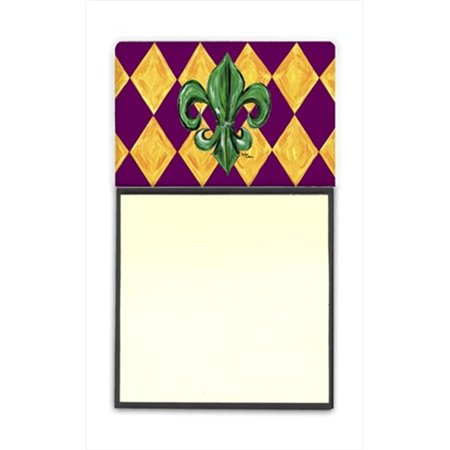 Mardi Gras Fleur de lis Purple Green and Gold Refiillable Sticky Note Holder or Postit Note Dispenser, 3 x 3 In. - image 1 de 1