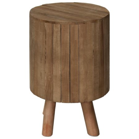 Wooden Round Drum End Table with Live Edge Top, Natural Brown