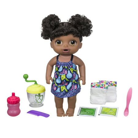 Baby Alive Sweet Spoonfuls Baby Doll Girl-Black Hair Dot Mesh Baby Doll