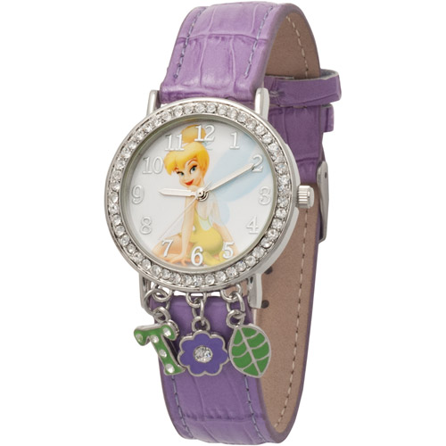 Disney Women's Tinker Bell Charm Watch, Lavender Simulated Leather Strap