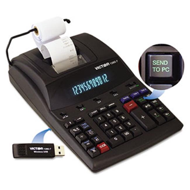 Victor Technologies 12807 1280-7 Two-Color Printing Calculator w/USB, Black/Red Print, 4.6 Lines/Sec