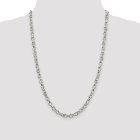 925 Sterling Silver 6.25mm Fancy Rolo Chain 30 Inch - image 4 de 5