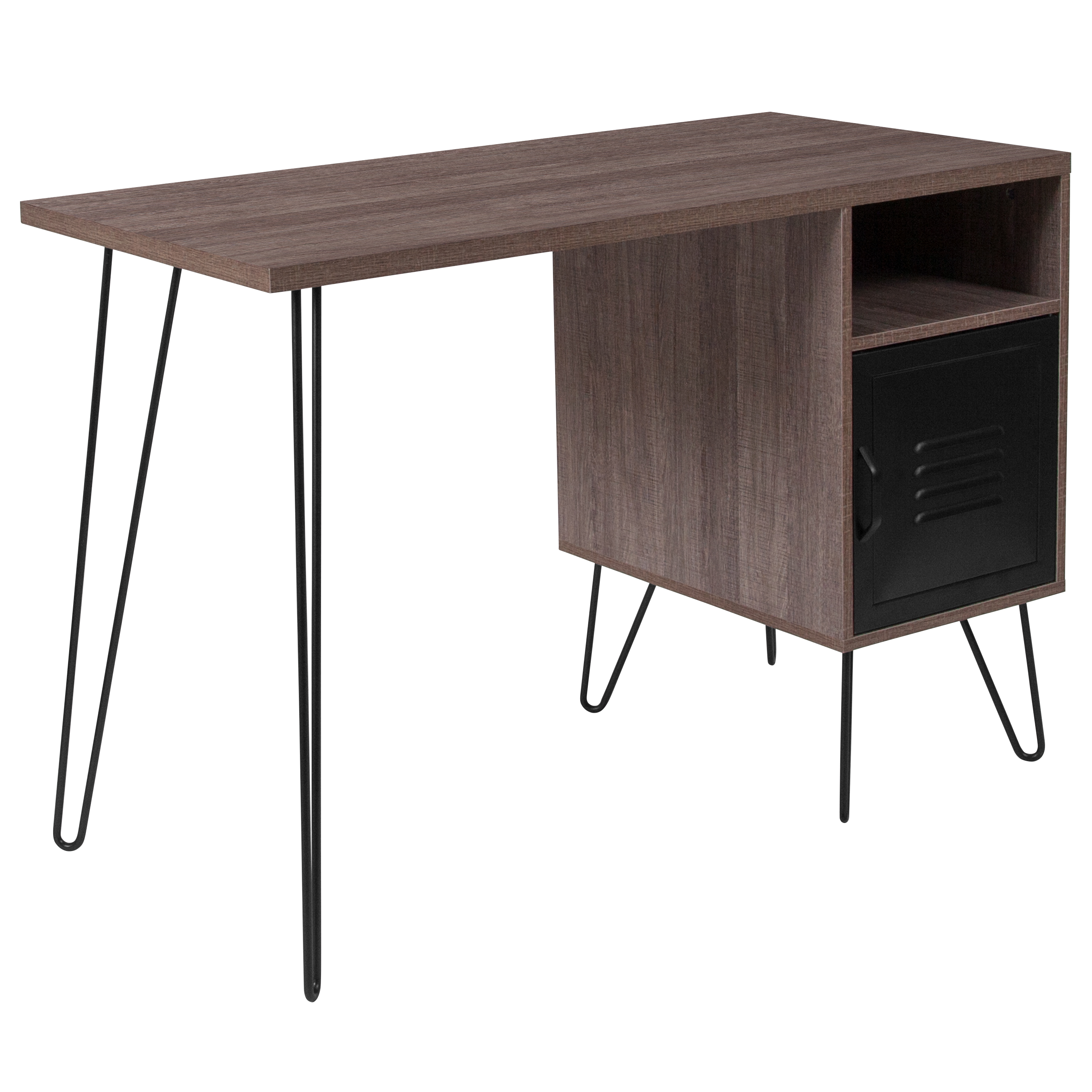 Flash Furniture Woodridge Collection Rustic Wood Grain Finish Computer Desk with Metal Cabinet Door and Black Metal Legs
