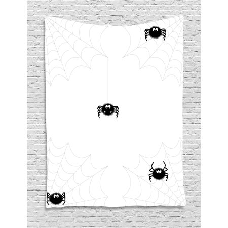 Spider Web Tapestry, Cute Spider with Net in Different Trap Varieties Funny Characters with Fangs, Wall Hanging for Bedroom Living Room Dorm Decor, 40W X 60L Inches, Black White, by Ambesonne