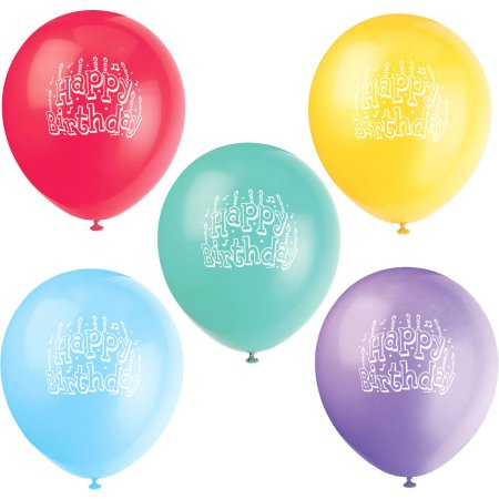 """(4 Pack) 12"""" Latex Happy Birthday Balloons, Assorted 10ct"""