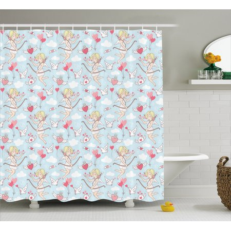 Angel Shower Curtain, Cupid Girls Winged Hearts Flying in the Sky Doves Clouds Happiness, Fabric Bathroom Set with Hooks, 69W X 70L Inches, Blush Coral Baby Blue White, by - Girl In The Shower