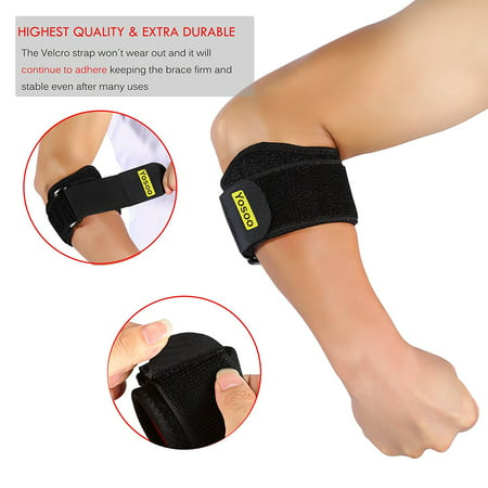 Adjustable Elbow Support Band Wrap Neoprene Forearm Brace with Compression Pads Elbow Protector for Tendonitis Muscle Tissue Joint Pain Relif for Men