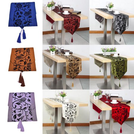 30X200cm Flocked Damask Floral Table Runner Raised Flower Blossom Table Cloth Cover Wedding Xmas Party Holiday Dinner Coffee Kitchen Dining Room Home Desk Decor