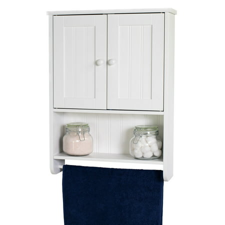 Wall Mount White Bathroom Medicine Cabinet Storage Organizer with Towel Bar