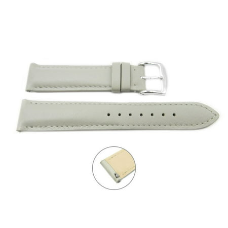 Quick Release 20mm Grey Leather Smooth Watch Band - Interchangeable Womens Watch Straps ()