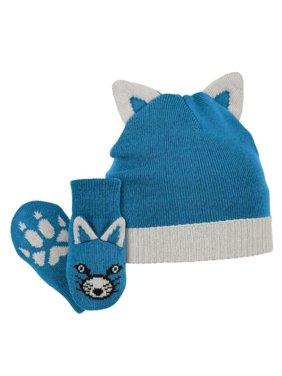 Columbia Sportswear Infant Boys Blue Snow Fox Winter Beanie Hat & Mittens Set