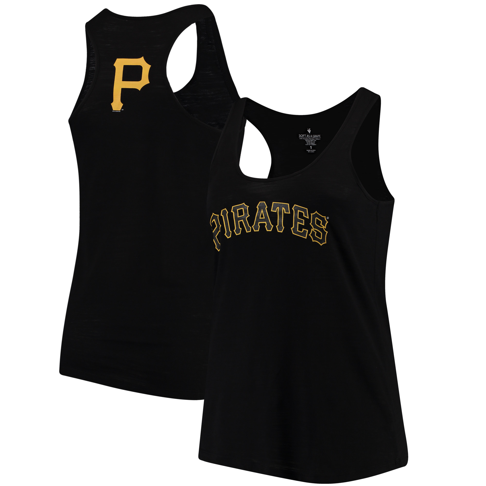 Pittsburgh Pirates Soft as a Grape Women's Plus Size Swing for the Fences Racerback Tank Top - Black