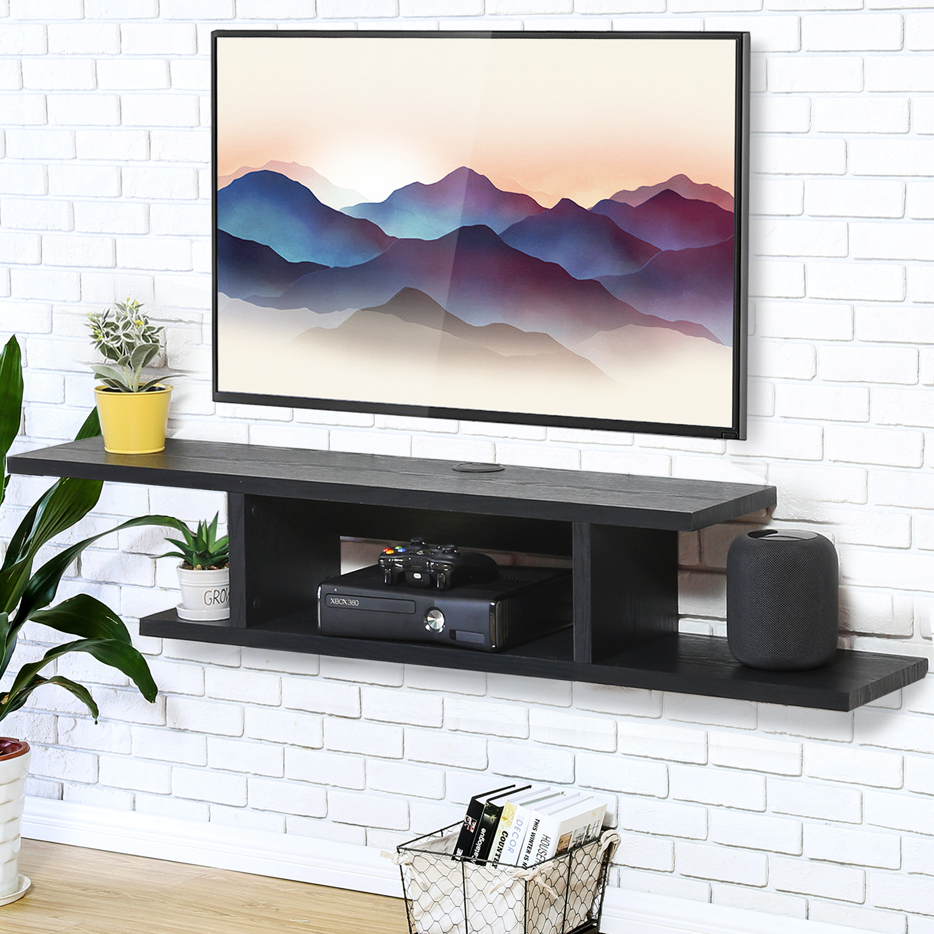 FITUEYES Wall Mounted Audio/Video Console wood grain Wooden TV Stand