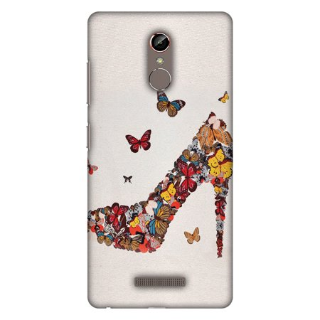 Gionee S6s Case - Butterfly High Heels, Hard Plastic Back Cover  Slim  Profile Cute Printed Designer Snap on Case with Screen Cleaning Kit