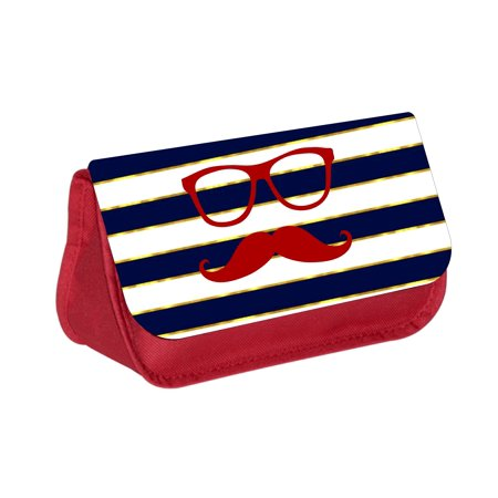 Hipster Elements on Gilded Stripes -  Red Cosmetic Case - Makeup Bag - with 2 Zippered Pockets
