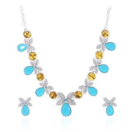 Novadab Luxurious Butterfly Sparkling Blue Yellow Silver Crystal Jewelry Necklace Set Blue Butterfly Navel Jewelry