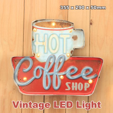 Coffee Shop LED Metal Vintage Light Sign Bar Cafe Club Wall Hanging Decor