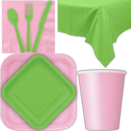 Disposable Party Supplies for 28 Guests - Lovely Pink and Lime Green - Square Dinner Plates, Square Dessert Plates, Cups, Lunch Napkins, Cutlery, and Tablecloths:  Tableware Set - Pink Square Plates