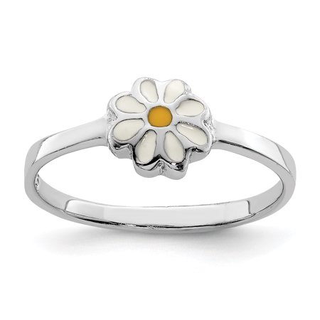 Enameled White Daisy (925 Sterling Silver Childs White Yellow Enamel Daisy Band Ring Size 4.00 Baby Flower Gardening Gifts For Women For Her )
