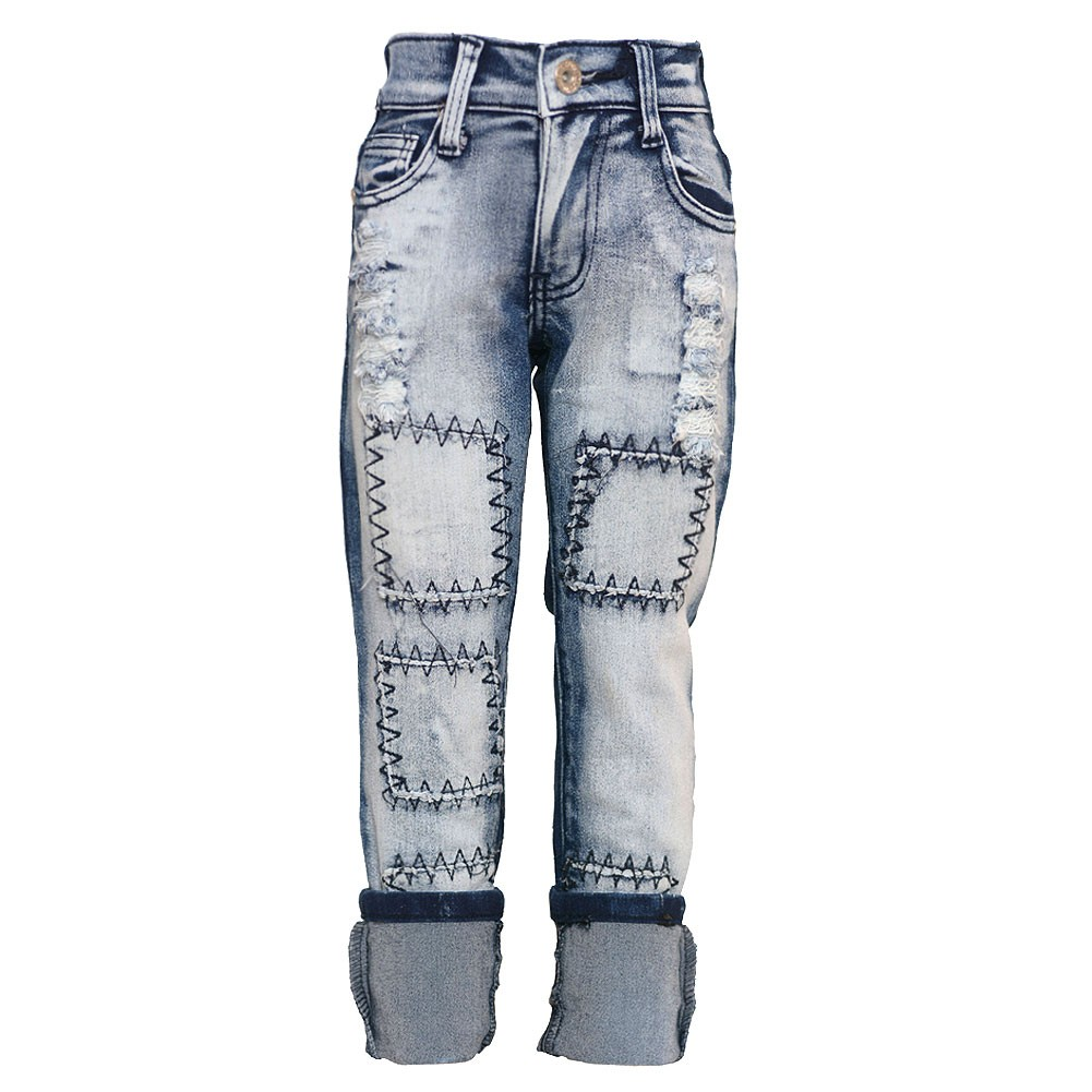 Girls Blue Two Tone Rough Patch Detail Turn Up Cuff Denim Pants 7