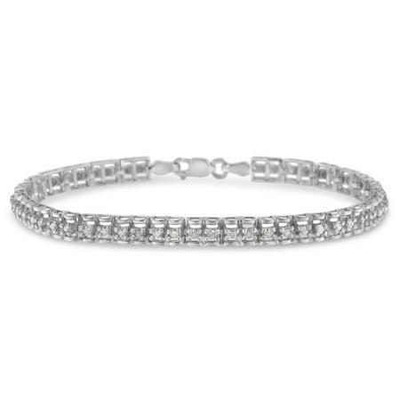 Sterling Silver 1ct. TDW Double-Link Diamond Tennis Bracelet (I-J, I3)