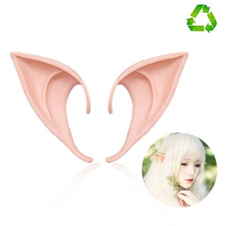 HUHUBA Elf Ear Costume Halloween Party Props, Soft Pointed Ears of Fairy Pixie for Anime Cosplay,orange,size?M/L