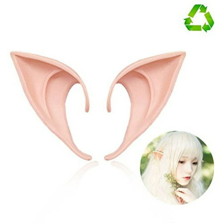 HUHUBA Elf Ear Costume Halloween Party Props, Soft Pointed Ears of Fairy Pixie for Anime Cosplay,orange,size?M/L - Halloween Elf