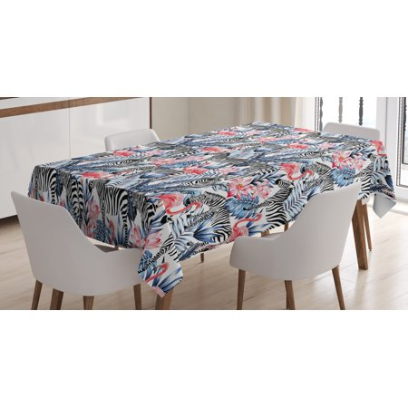 Watercolor Tablecloth, Exotic Flamingo Zebras and Flowers Tropic Animals Abstract Illustration, Rectangular Table Cover for Dining Room Kitchen, 52 X 70 Inches, Blue Black Coral, by - Zebra Table Cover