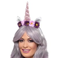 "29"" Pink and White Unicorn Women Adult Halloween Headband Costume Accessory - One Size"