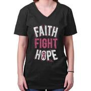 Breast Cancer Awareness Shirt | Faith Fight Hope Pink Ribbon V-Neck T-Shirt