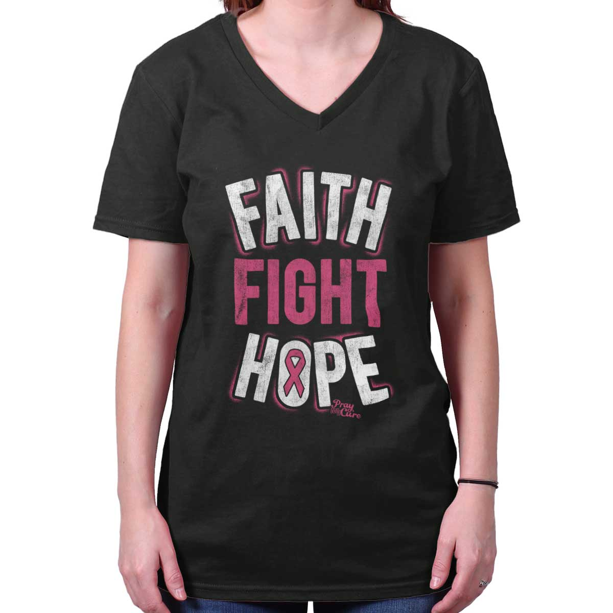 Breast Cancer Awareness Shirt | Faith Fight Hope Pink Ribbon V-Neck T-Shirt