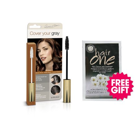 Cover Your Gray Brush In Wand - Medium Brown with BONUS Almond Oil Hair Cleanser (Oil Wand)