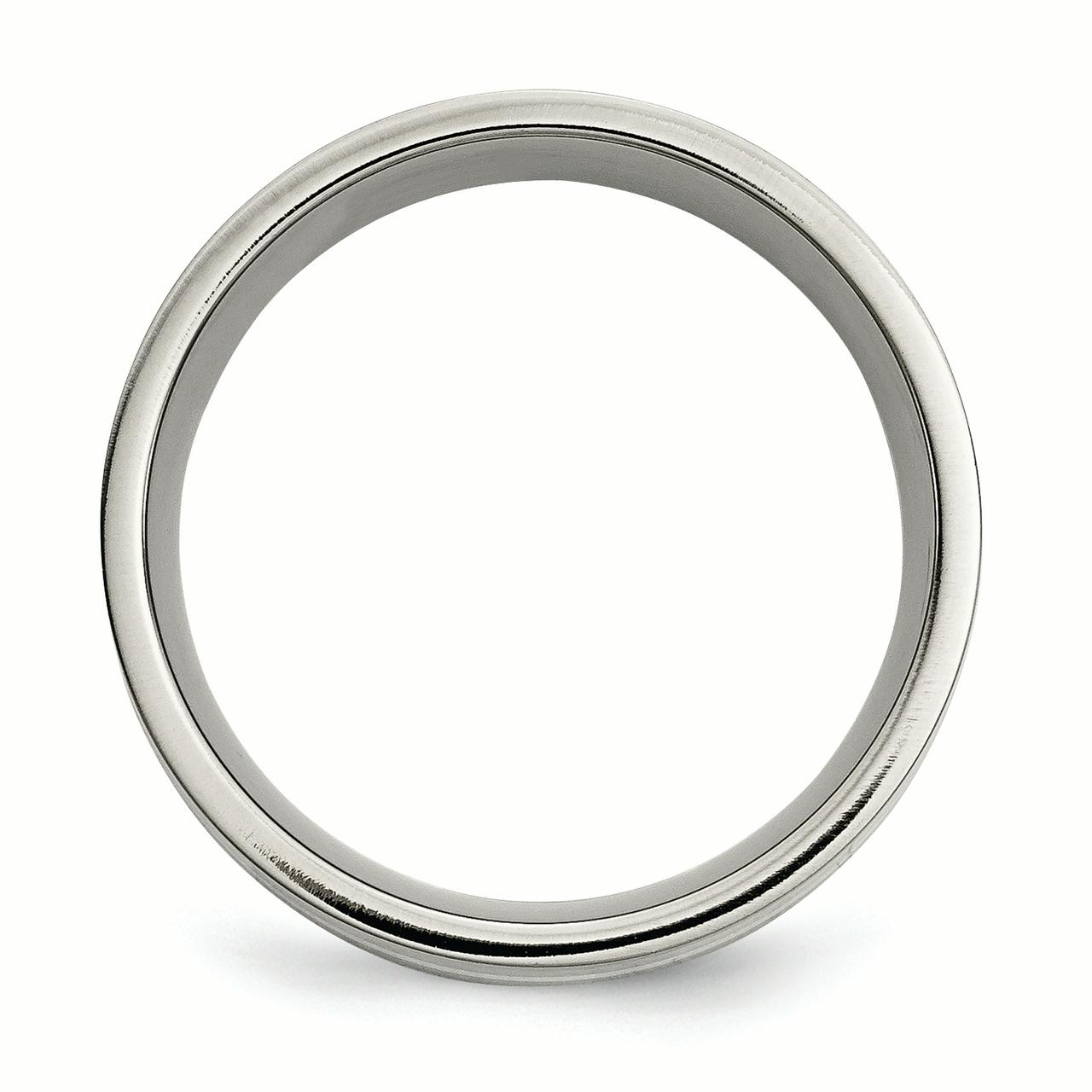 Titanium 925 Sterling Silver Inlay Flat 8mm Wedding Ring Band Size 7.00 Precious Metal Fine Jewelry Gifts For Women For Her - image 2 de 6