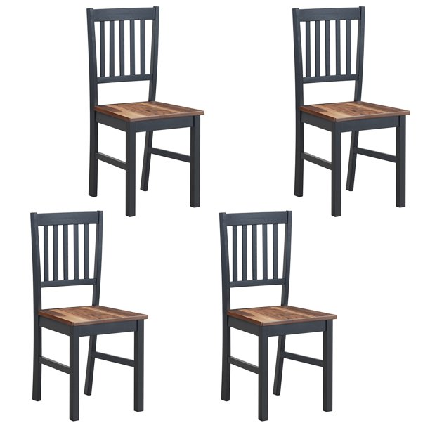 Set Of 4 Dining Chair Kitchen Black, Black Wooden Dining Chairs Set Of 4